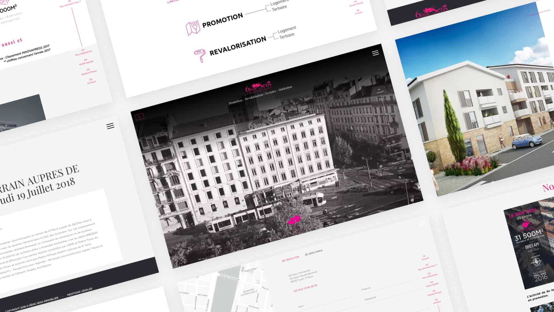 Mock-up desktop de la création du site de 6ème Sens Immobilier par l'agence web Digital Cover