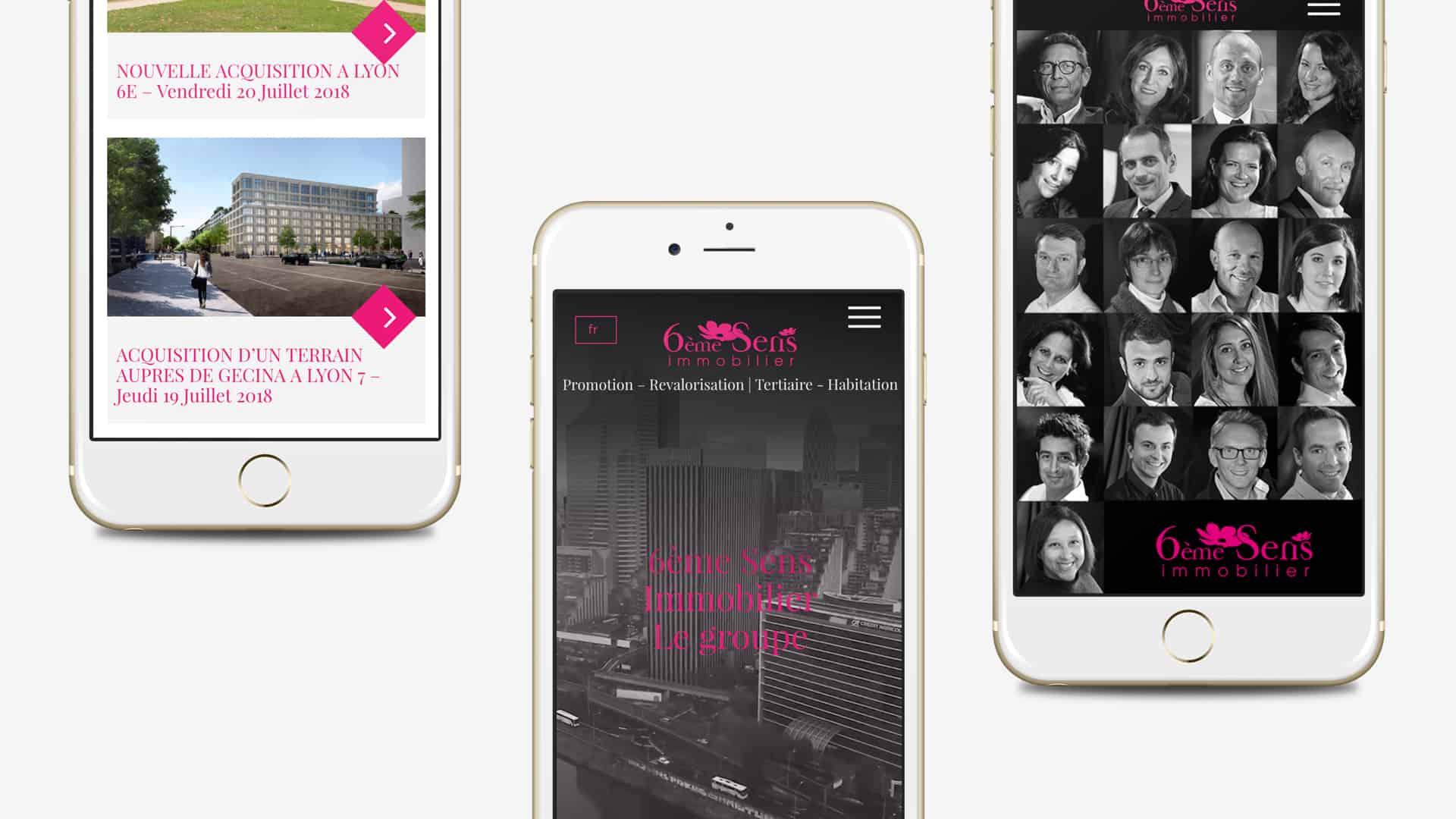 Mock-up mobile de la création du site de 6ème Sens Immobilier par l'agence web Digital Cover