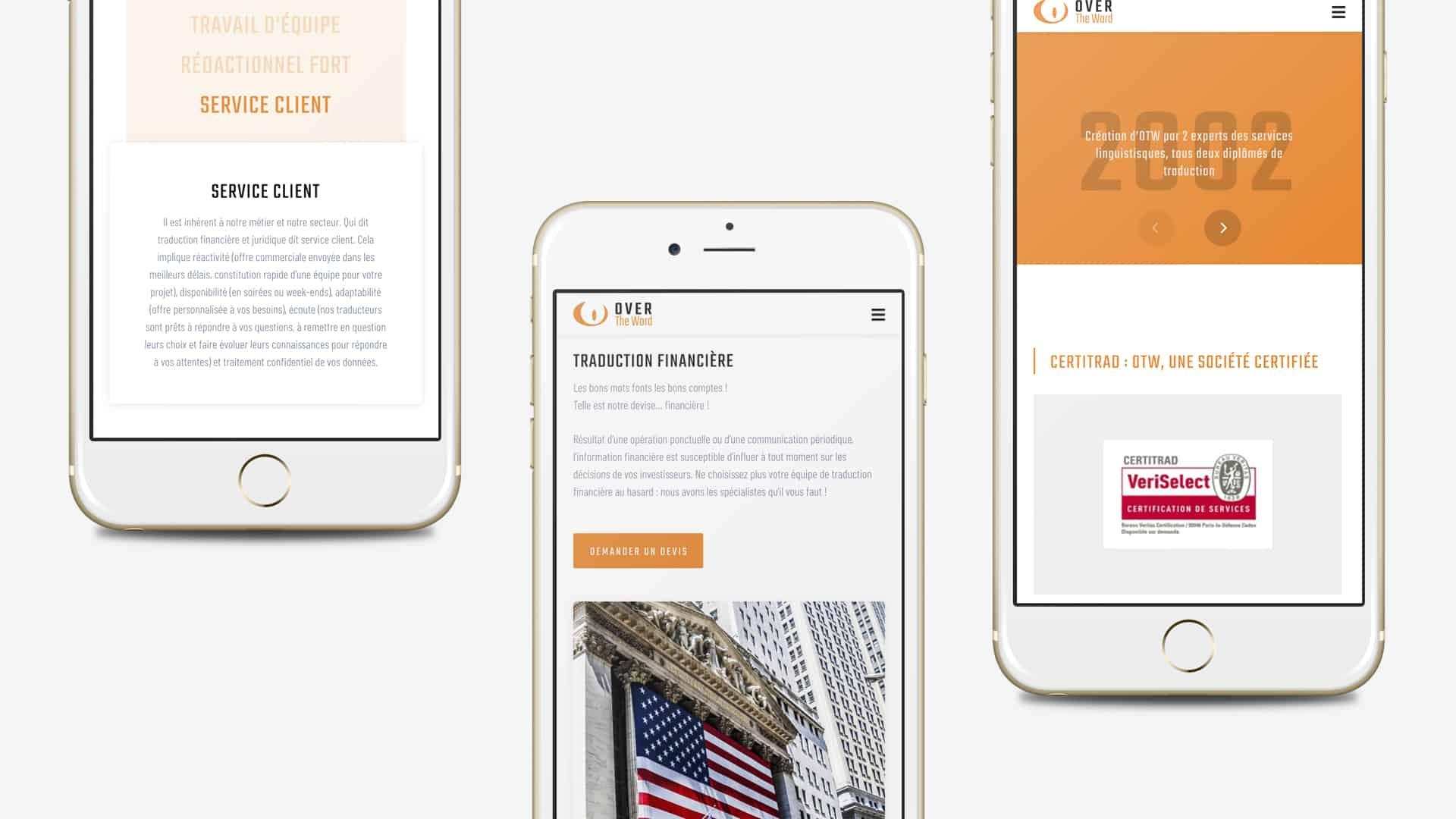 Mock-up mobile de la création du site de OTW par l'agence web Digital Cover