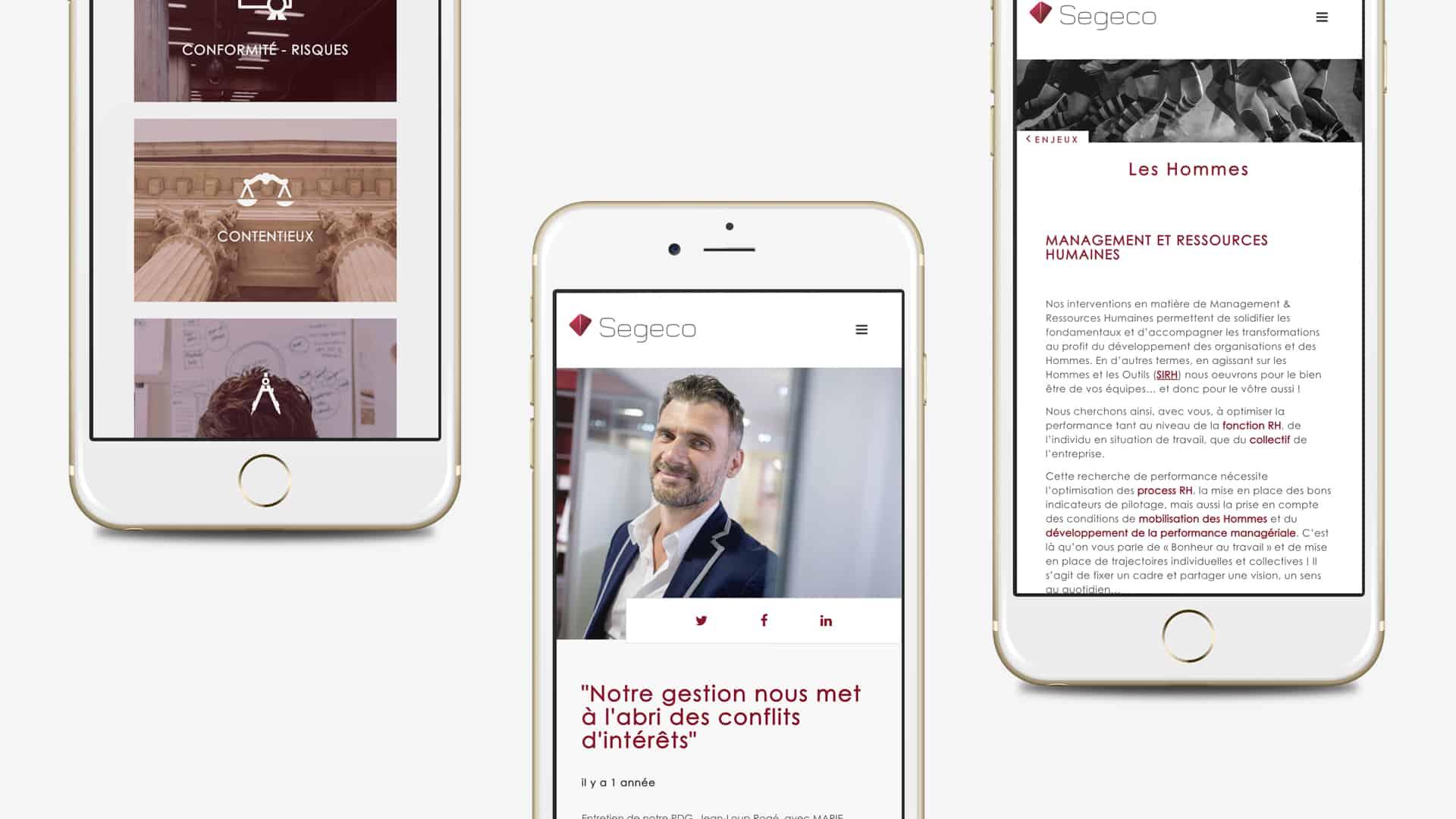 Mock-up mobile de la création du site Segeco par l'agence web Digital Cover