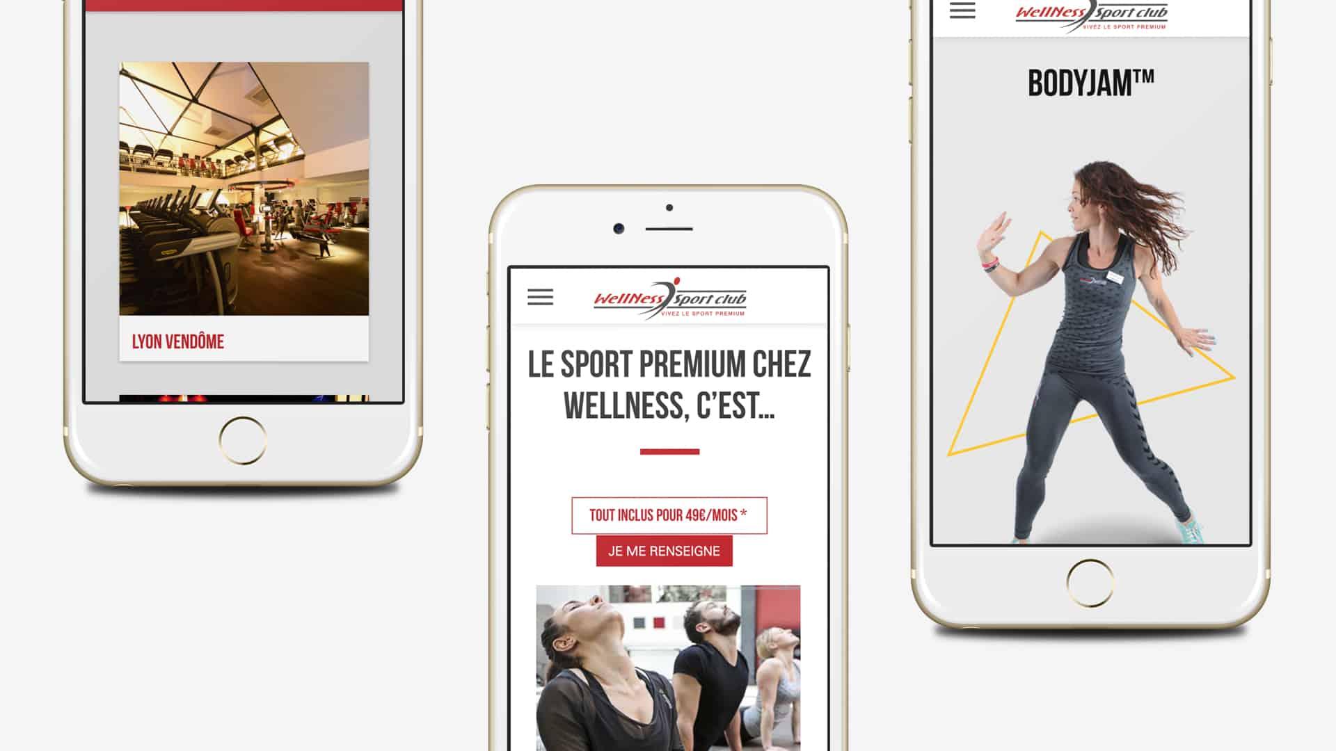 Mock-up mobile de la création du site Yes WellNess par l'agence web Digital Cover