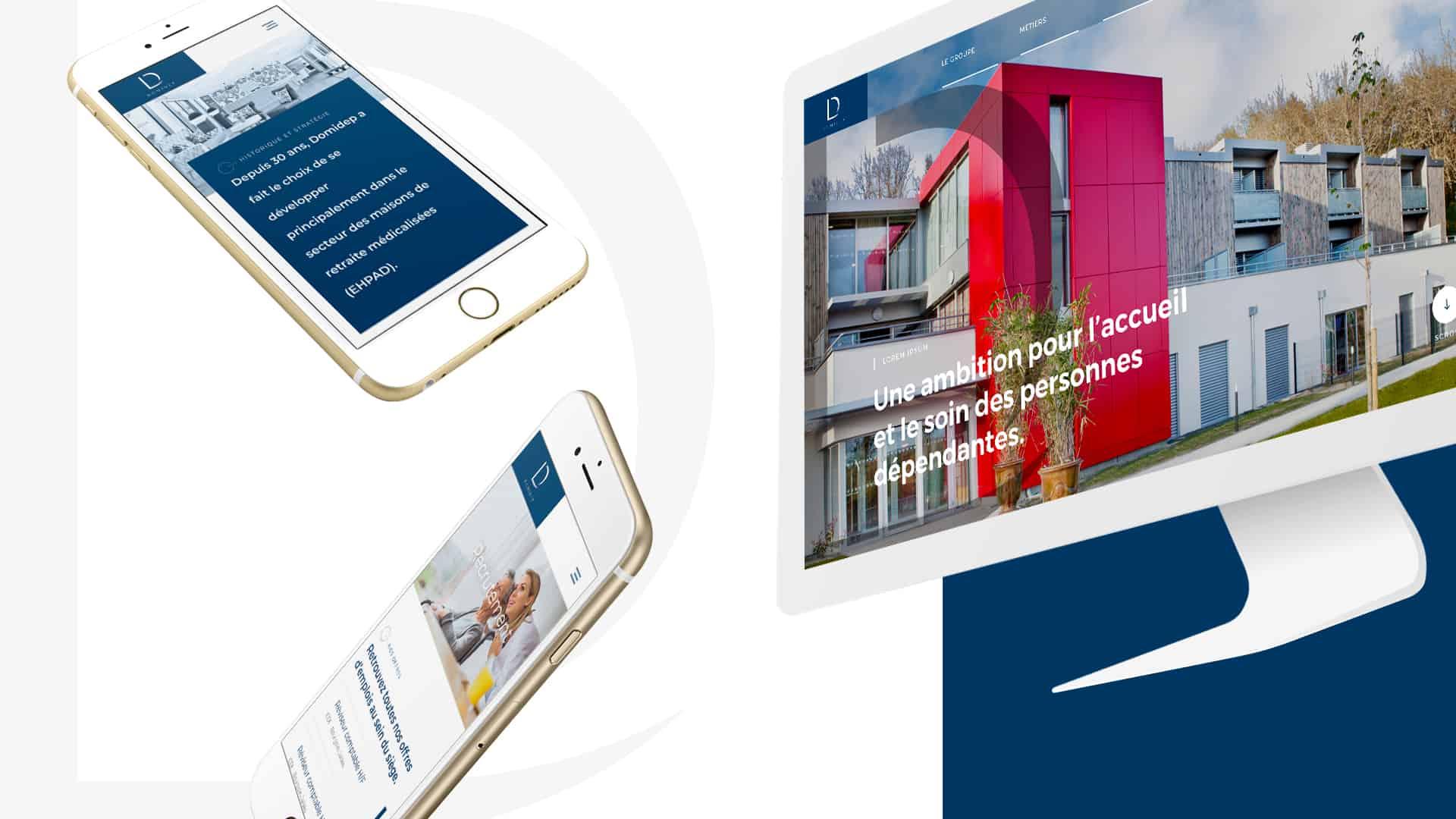 Mock up version desktop et mobile du site internet Domidep créé par l'agence web Digital Cover