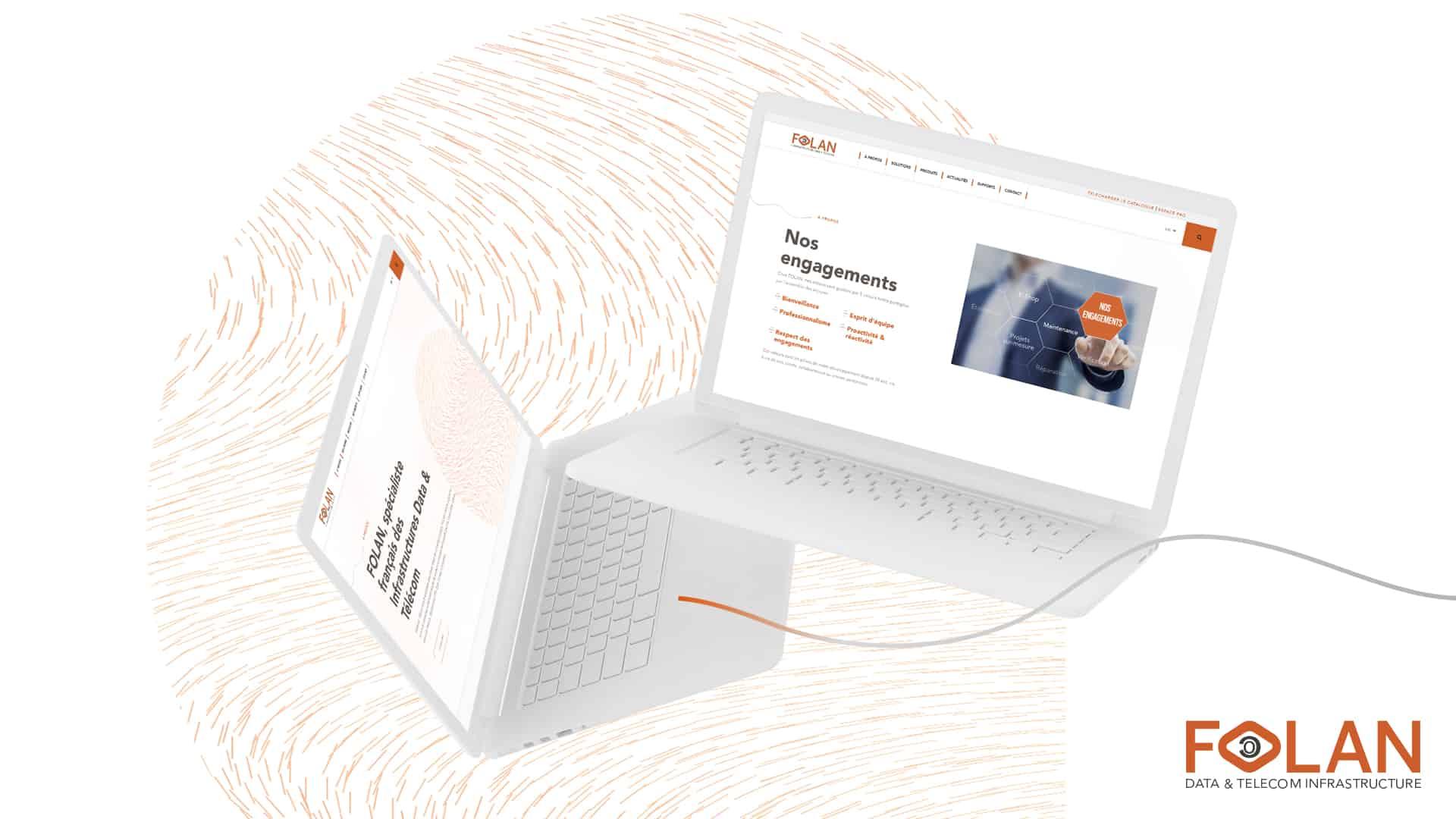 Mockup de la refonte du site internet et espace pro de Folan par Digital Cover, agence web Lyon